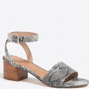 J.crew Snakeskin Print block-heel sandals, NIB
